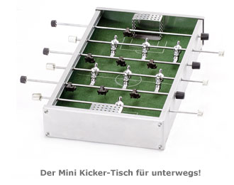 mini kicker tisch aluminium kicker f r unterwegs. Black Bedroom Furniture Sets. Home Design Ideas
